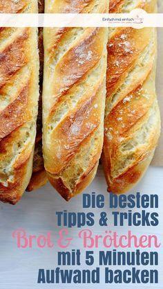 Lockeres Brot und knusprige Brötchen mit 5 Minuten Aufwand einfach selber backen. Hier findest Du die besten Tipps und Tricks, um Brot und Brötchen wie vom Bäcker zu backen – luftig, saftig, mit knuspriger Kruste und unwiderstehlich! #brot #backen #brötchen #selbermachen #rezept #frühstück #vollkorn #tipps #tricks