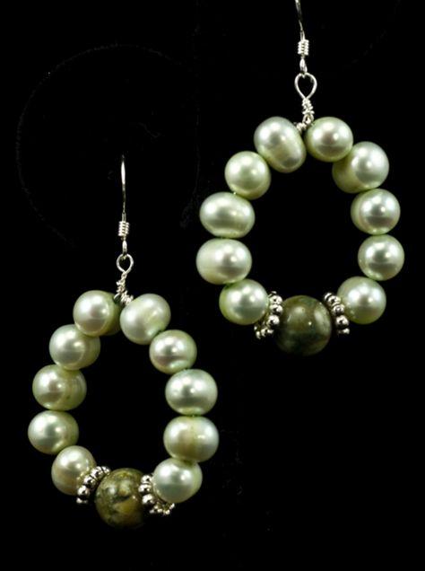 Lovely light green pearl loop earrings with rainforest jasper accents #gemstoneearrings #dangleearrings #pearlearrings #piercedearrings #mothersdaygifts