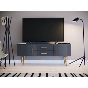 Dallas Meuble Tv Scandinave Melamine Gris Mat L 140 Cm Meuble Tv Scandinave Meuble Tv Mobilier De Salon