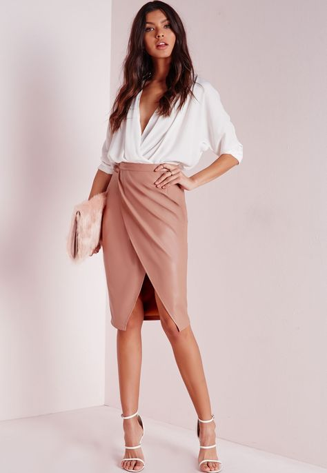 Missguided+-+Faux+Leather+Wrap+Midi+Skirt+Nude
