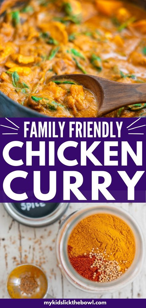 Mild but delicious Chicken Curry for kids, absolutely loaded with vegetables! This family-friendly dinner is super easy to make and healthy! Ready in half an hour!#familydinner #curryrecipes #easydinnerrecipe #easydinner