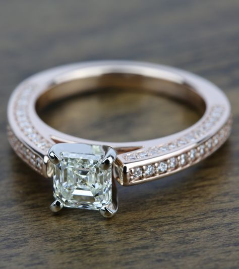 Ravishing rose gold! Would you say YES to this Three-Sided Rose Engagement Ring with Asscher Diamond?