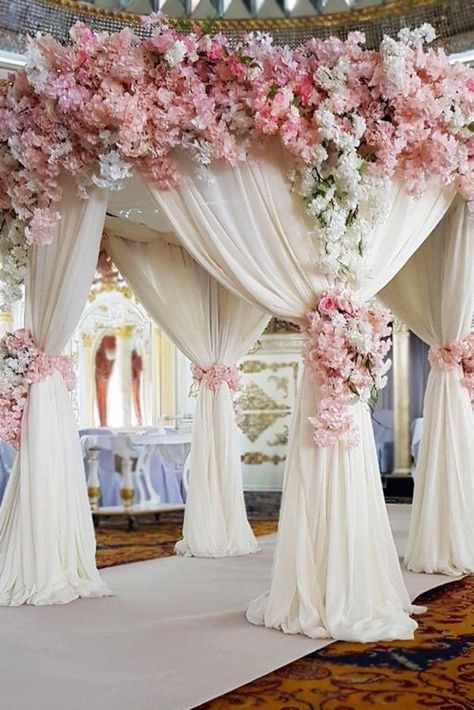 dusty rose wedding arch with white cloth and cascading white pink flowers vardan_petrosyan Wedding Mandap, Wedding Stage, Rose Wedding, Wedding Themes, Wedding Designs, Wedding Colors, Wedding Ceremony, Wedding Venues, Dream Wedding