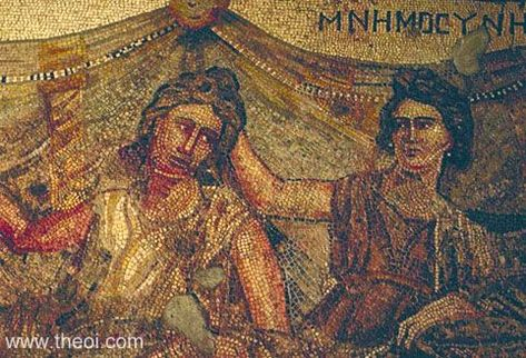 MNEMOSYNE    Museum Collection: Antakya Museum, Antakya, Turkey  Catalogue Number: TBA  Type: Mosaic  Context: Antioch, House of Mnemosyne  Date: C2nd - C3rd AD  Period: Imperial Roman    SUMMARY    The goddess Mnemosyne (memory personified) places her hand on the back of a man's head, symbolically aiding his memory. The figures are in a banquet scene.