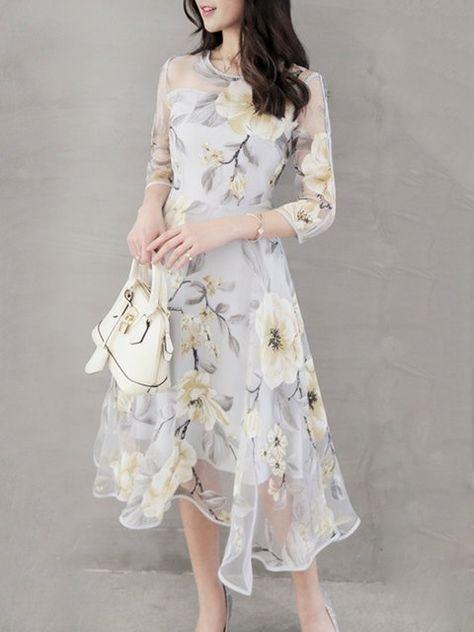 5030e076d041 Buy Dress For Women at PopJulia. Online Shopping Popjulia Crew Neck Women  Dress Asymmetrical Party Dress 3/4 Sleeve Elegant Dress, The Best Party  Dress For ...