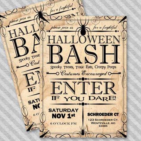 Apothecary Style Halloween Party Invitation - Instant Download