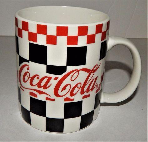 Collector New 2 Cup Set of Coke White Ceramic 14oz Glass Coca Cola mugs