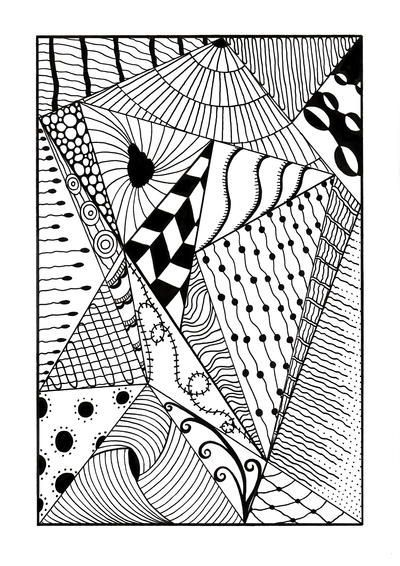 Trippy Zentangle Triangles Adult Coloring Page Coloring Pages