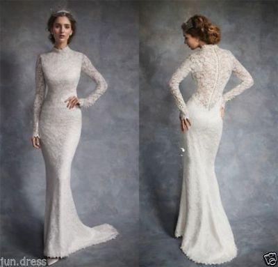 Vintage High Neck Long Sleeve Mermaid Wedding Dress Bridal Long Sleeve Mermaid Wedding Dress Long Sleeve Wedding Dress Lace High Neck Long Sleeve Wedding Dress