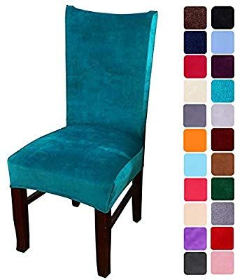 Smiry Velvet Stretch Dining Room Chair Covers Soft Removable Dining Chair Slipcovers Set Of 2 P Dining Room Chair Covers Dining Chair Seat Covers Chair Covers