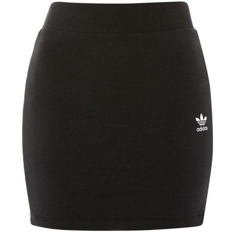 Three-Stripe Mini Skirt by Adidas Originals ($58) ❤ liked on Polyvore featuring skirts, mini skirts, bottoms, black, cotton mini skirt, striped cotton skirt, mini skirt, short skirts and topshop mini skirt