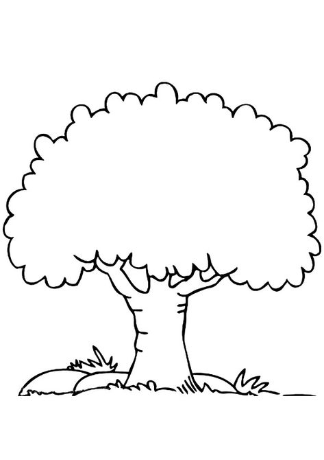 Print Coloring Image Momjunction Tree Drawing Simple Tree Coloring Page Leaf Stencil