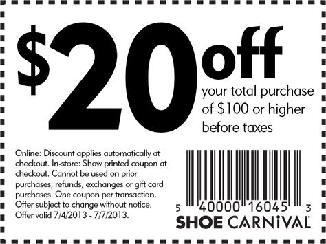 $20 off $100 Shoe Carnival PRintable Coupon Printable Coupons - coupon disclaimer examples