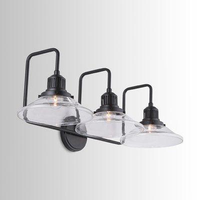 Industrial Triangle Shade Bath Light 3 Light Black Bathroom Light Fixtures Black Bathroom Light Light Fixtures Bathroom Vanity