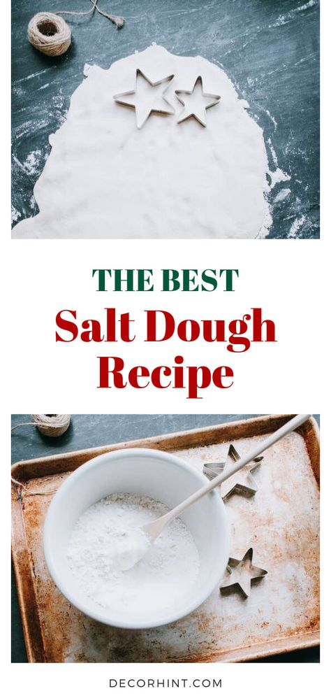 This is the best and easiest salt dough recipe! Just three ingredients. Star Salt Dough Ornaments and Christmas Tree Ideas. Basic recipe for Salt Dough Ornaments with tips and ideas for decorating your Holiday Tree this year. Best Salt Dough Ornament Recipe, Best Salt Dough Recipe, Salt Dough Ornaments, Ornaments Recipe, Craft Dough Recipe, Salt Doug Recipe, Salt Dough Recipe Handprint, Homemade Ornaments, Salt Dough Projects