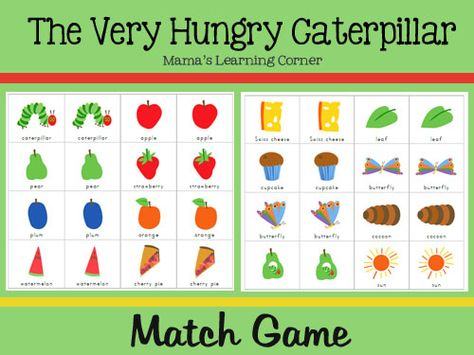 The Very Hungry Caterpillar Match Game - A memory-style match game for PreK/Early Kindergarten. Suggestions for use are included in the post.