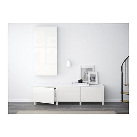 BESTÅ Kommode - hvit/Selsviken høyglanset/hvit, skuffeskinne, trykk-åpen-beslag - IKEA