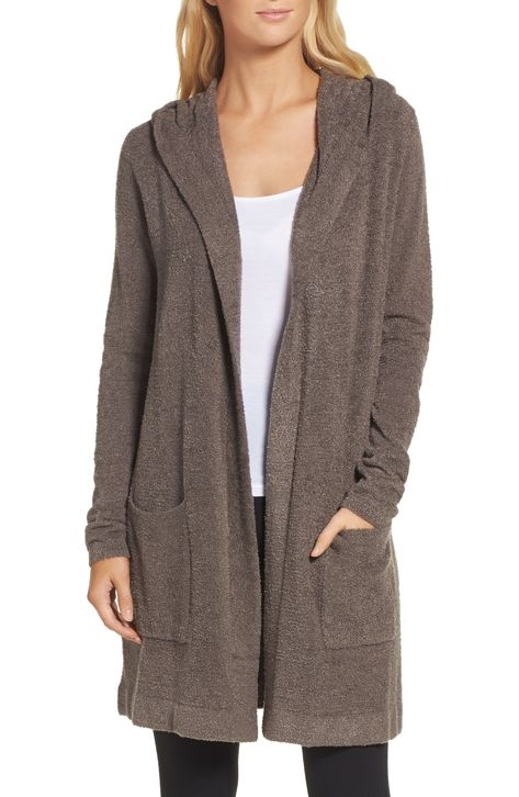 Women's Barefoot Dreams Cozychic Lite Coastal Hooded Cardigan, Size X-Small/Small - Brown