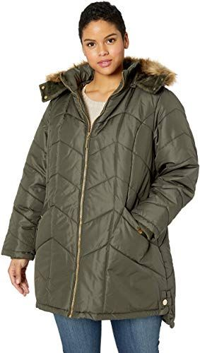 Details Womens Plus Size Knee-Length Winter Coat with Faux Fur Trimmed Hood
