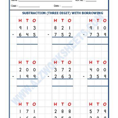 Worksheet Of Subtraction Worksheet 3 Digit Subtraction With Borrowing 02 Subtraction Subtraction Maths Subtraction Worksheets Math Subtraction Math Addition Worksheets