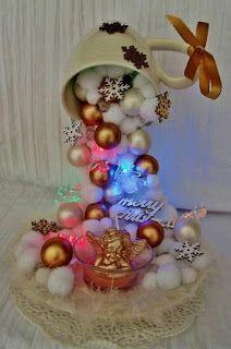 Tutorial Haz Hermosos Arreglos Navidenos Con Tazas Decoracion - Arreglos-navideos