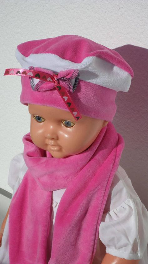 Hat beret hat and scarf baby girl birth linen gift   eva kids pink ... 93130b1a299