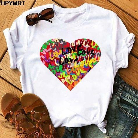 Pink Heart Flower Print Women T-Shirt Casual White Tops Summer Short Sleeve Women T Shirt Kawaii Love Print Female Tees clothing - YH-4490 / L