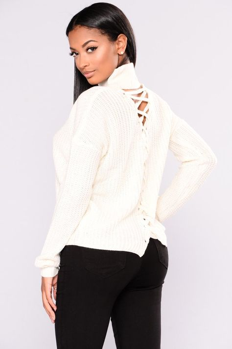 Most Requested Lace Up Sweater - Off White