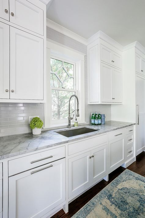 Counters Are Leathered Super White Quartzite What A Gorgeous Stone Kitchen Cabinets Grey And White White Kitchen With Gray Countertops Modern Kitchen Design