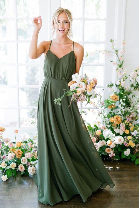 Olive Green Bridesmaid Dresses, Bridesmaid Dress Colors, Olive Green Dresses, Wedding Bridesmaid Dresses, Sage Dresses, Bridesmaid Ideas, Green Dresses For Wedding, Wedding Colors Green, Green Bridesmaids