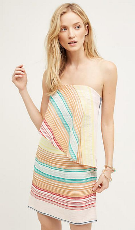Candy Stripe Strapless Draped Top Dress