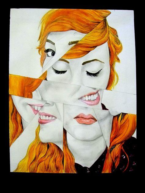 Mixed media portrait by Hannah Postlethwaite