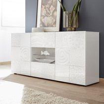 Buffet blanc laqué design 180 cm ALAN, 2 portes + 1 niche ...