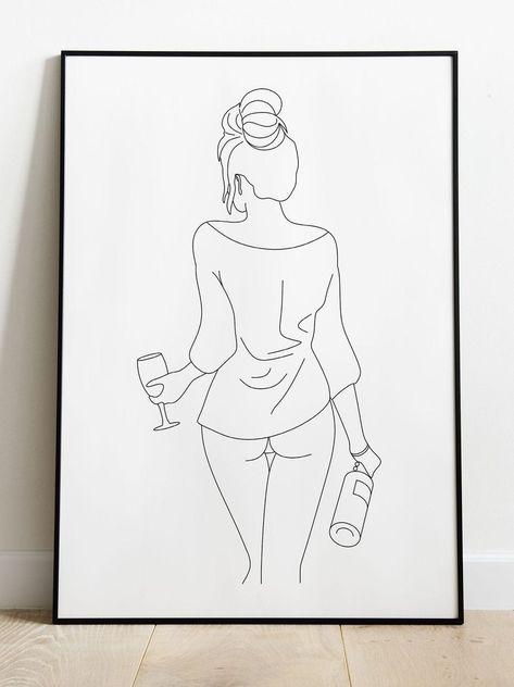 Nude Woman with wine glass Line Art Print Digital print   Etsy
