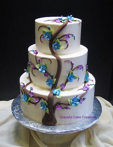 Elegant Cherry Blossom Tree Wedding Cake Wedding Cake Tree Whimsical Wedding Cakes Cake Creations