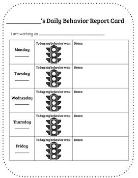 Traffic Light Daily Behavior Report Card Daily Behavior Report Behavior Report Report Card Template