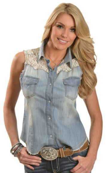 Miss Me Denim Sequin & Lace Yoke Sleeveless Top available at #Sheplers  | I'm in love <3