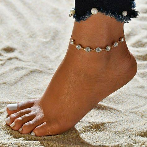 Bohemian Women Link Chain Crystal Rhinestone Anklets Gold Silver Foot Bracelet