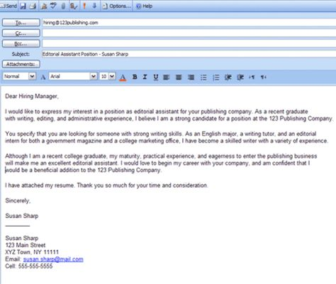 Best Formats for Sending Job Search Emails Easy, Cover letter - email cover letter