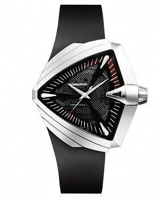 Hamilton Watch, Men's Swiss Automatic Ventura XXL Black Rubber Strap 27mm H24655331 - Watches - Jewelry & Watches - Macy's #mensluxurywatchesmostexpensive