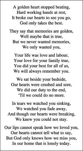 Pin by debbie rajo on Religious | Funeral quotes, Funeral poems