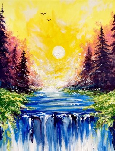 Hey Check Out Tranquility Falls At Piper Down Pub Yaymaker Waterfall Paintings Sunset Canvas Painting Spring Painting