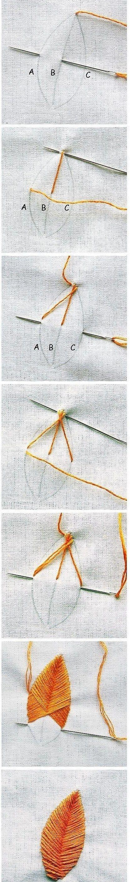 刺绣基础针法——叶子