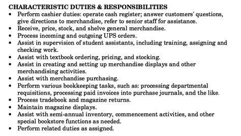 Bookstore Clerk Job Description Resume -    resumesdesign - courtesy clerk resume