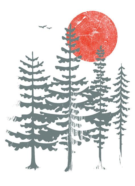Dreaming of the forests...Evergreen is our hand silkscreen printed art print. Hand pulled screenprint of evergreen trees and a red sun. Designed, illustrated and entirely hand printed the old fashioned way by us here in our studio in Pittsburgh, PA. - Inks: 2 from 2 screens with