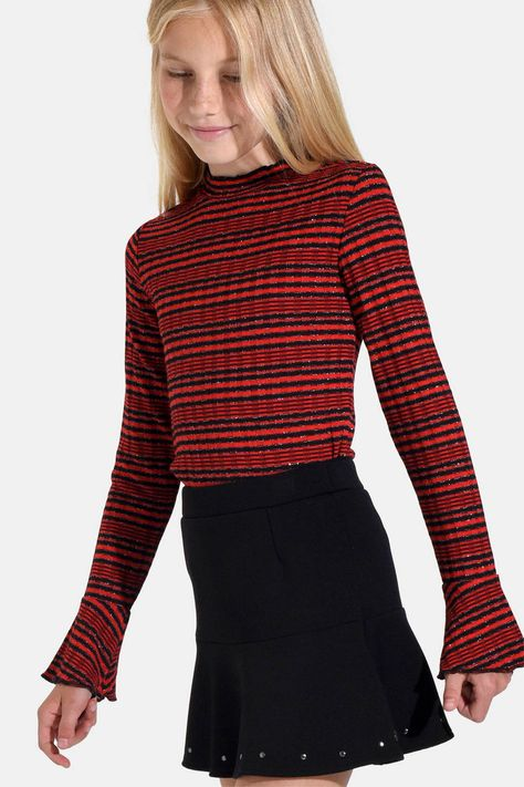 Zwart Rood Gestreepte Trui.Dunne Gestreepte Trui Sif Rood Kids Sweaters Studs Fashion
