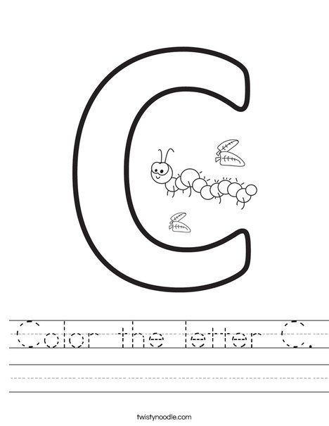 Color The Letter C Worksheet Twisty Noodle Letter C Worksheets Worksheets Letter C Coloring Pages