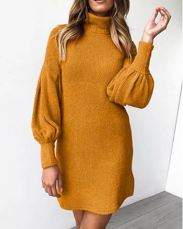 Turtleneck Lantern Sleeve Knit Dress