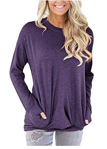 PA Plus Size Womens Long Sleeve Loose Blouse Tops Ladies T-Shirt Pullover Jumper