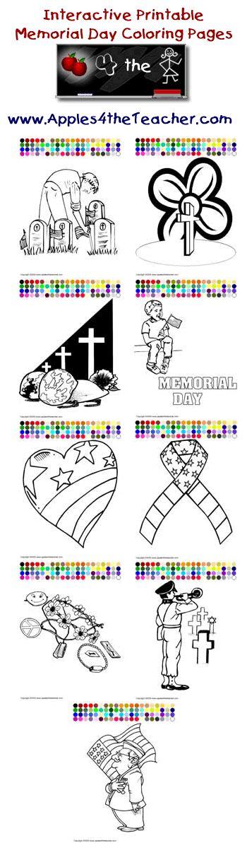 Printable interactive Memorial Day coloring pages, Memorial Day coloring pages for kids http://www.apples4theteacher.com/coloring-pages/memorial-day/